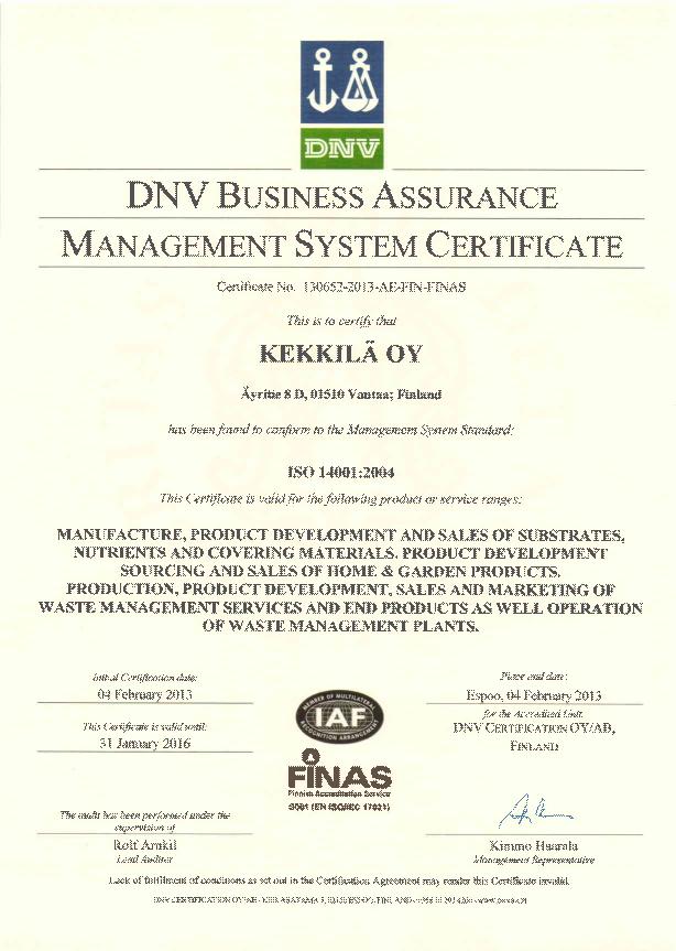 Kekkilä ISO 14001:2004 Sertifikası